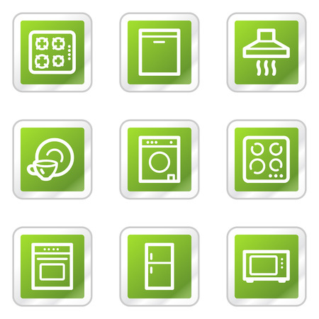 Home appliances web icons, green square sticker series Vector