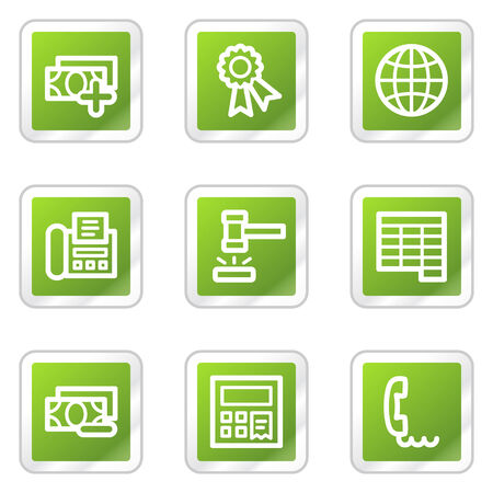 Finance web icons set 2, green square sticker series Stock Vector - 6169917