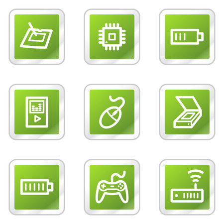Electronics web icons set 2, green square sticker series Stock Vector - 6169911