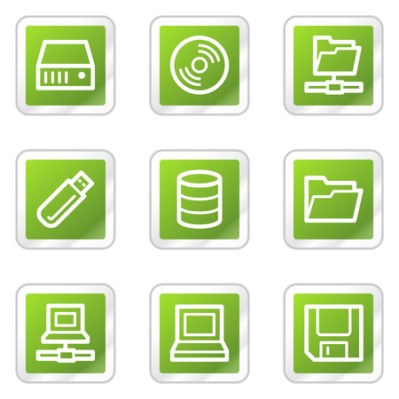 Drives and storage web icons, green square sticker series Stock Vector - 6169893