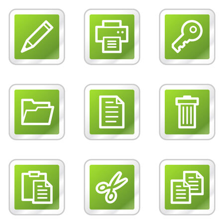 copy paste: Document web icons set 1, green square sticker series Illustration