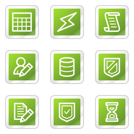 Database web icons, green square sticker series Stock Vector - 6169899