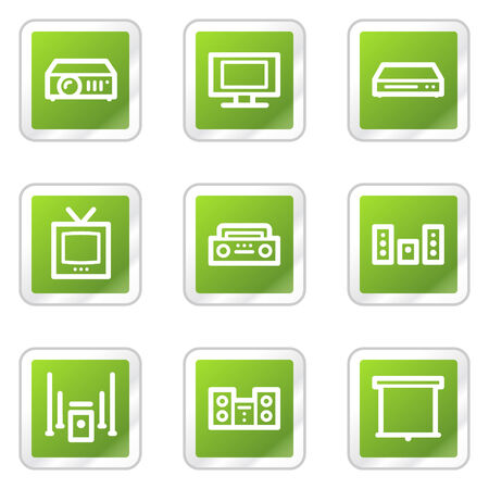 Audio video web icons, green square sticker series Vector