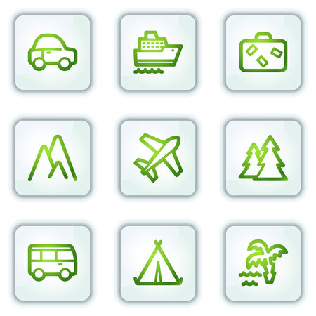 air liner: Travel web icons, white square buttons series Illustration