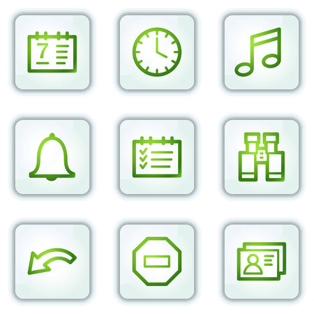 Organizer web icons, white square buttons series Stock Vector - 6222645