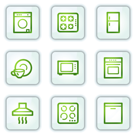Home appliances web icons, white square buttons series Stock Vector - 6222656