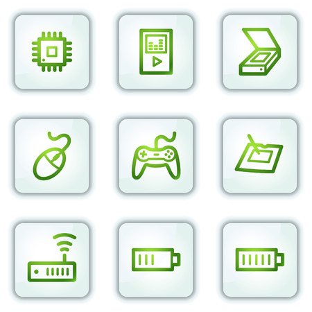 Electronics web icons set 2, white square buttons series Stock Vector - 6222660