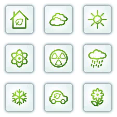 Ecology web icons set 2, white square buttons series Stock Vector - 6222665