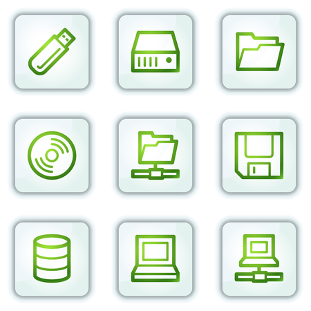 Drives and storage web icons, white square buttons series Stock Vector - 6222638