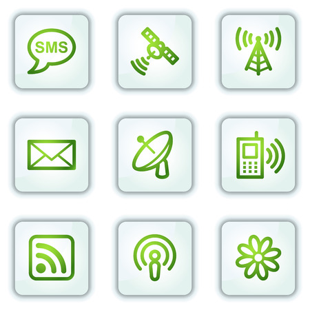 Communication web icons, white square buttons series Stock Vector - 6222661