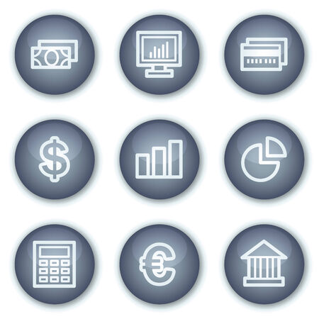 Finance web icons set 1, mineral circle buttons series Stock Vector - 6240386