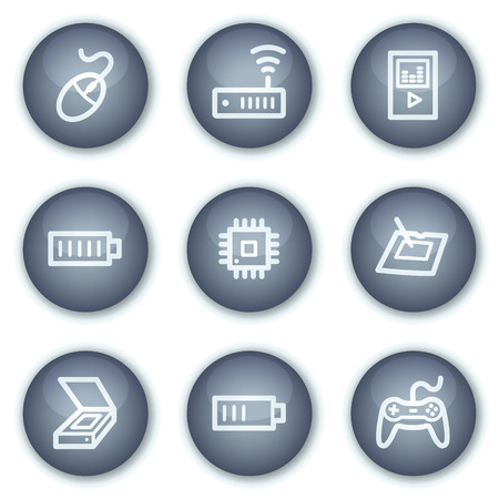 Electronics web icons set 2, mineral circle buttons series Stock Vector - 6240399