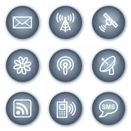 access point: Communication web icons, mineral circle buttons series Illustration