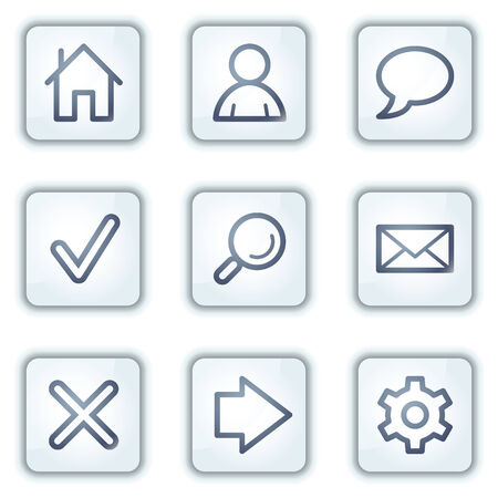 Basic web icons, white square buttons series Stock Vector - 6282466