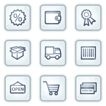Shopping web icons set 2, white square buttons series Stock Vector - 6282433