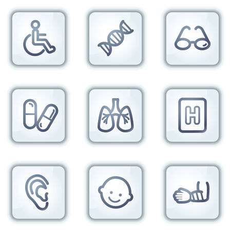 traumatic: Medicine web icons set 2, white square buttons series