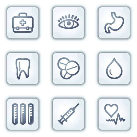squirt: Medicine web icons, white square buttons series