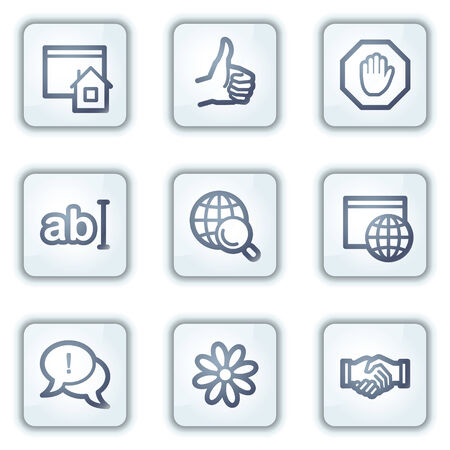 Internet web icons, white square buttons series Stock Vector - 6282500