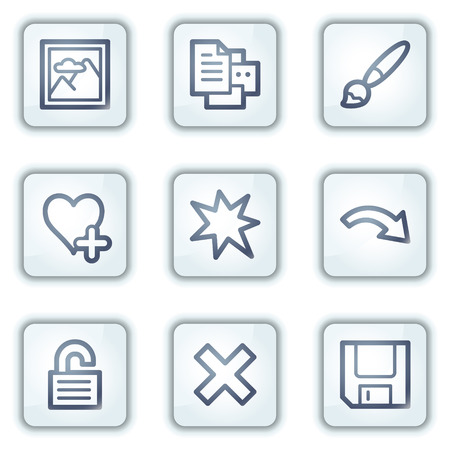 Image viewer web icons set 2, white square buttons series Stock Vector - 6282465