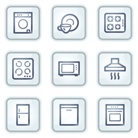 Home appliances web icons, white square buttons series Stock Vector - 6282349