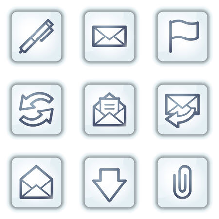 webmail: E-mail web icons, white square buttons series