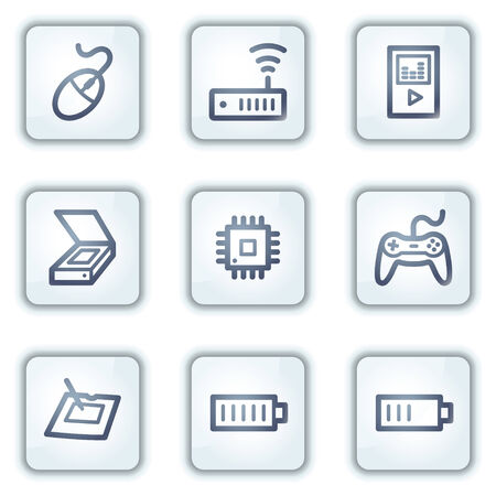 Electronics web icons set 2, white square buttons series Stock Vector - 6282381