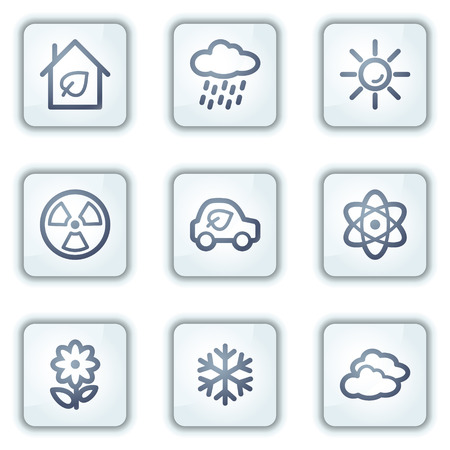 Ecology web icons set 2, white square buttons series Stock Vector - 6282498
