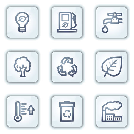 Ecology web icons, white square buttons series Vector