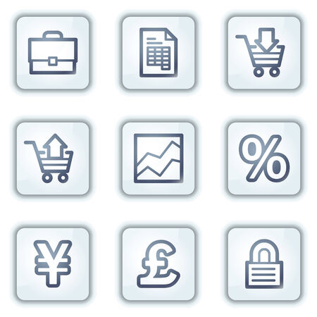 british money: E-business web icons, white square buttons series