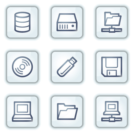 Drives and storage web icons, white square buttons series Stock Vector - 6282463