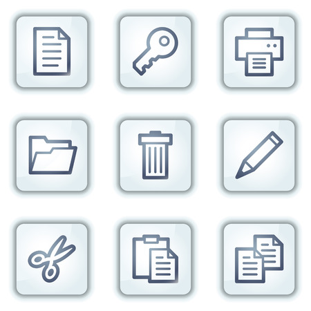 copy paste: Document web icons set 1, white square buttons series