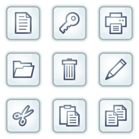 Document web icons set 1, witte vierkant reeks knoppen