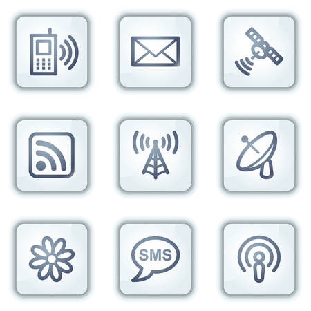 access point: Communication web icons, white square buttons series