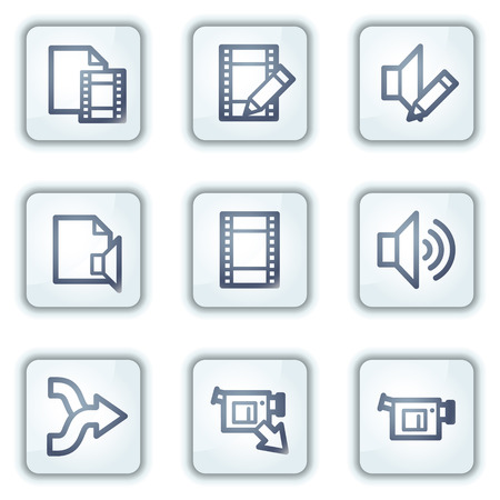 Audio video edit web icons, white square buttons series Vector