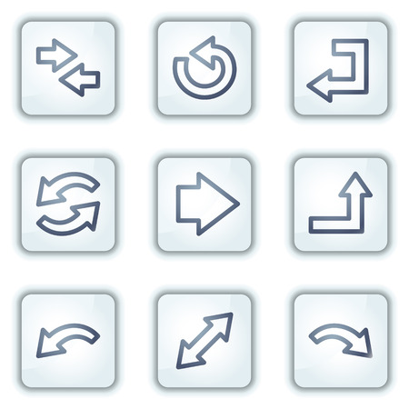 Arrows web icons, white square buttons series Stock Vector - 6282476