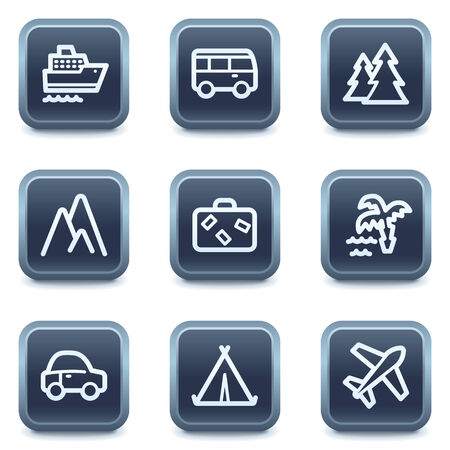 Travel web icons set 1, mineral square buttons series Vector
