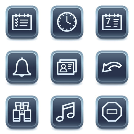 Organizer web icons, mineral square buttons series Vector