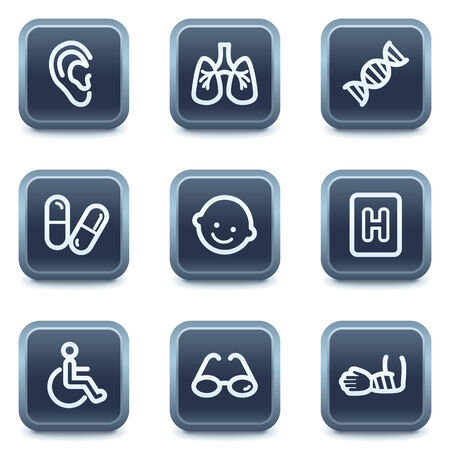pulmones: Medicine web icons set 2, mineral square buttons series
