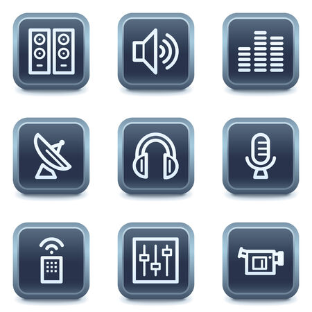 mineral: Media web icons, mineral square buttons series Illustration