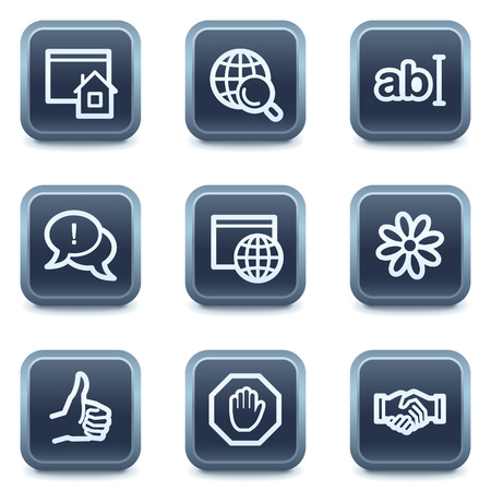 Internet web icons, mineral square buttons series Illustration