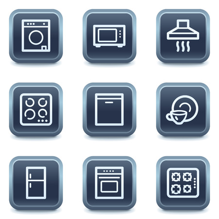Home appliances web icons, mineral square buttons series Stock Vector - 6335920