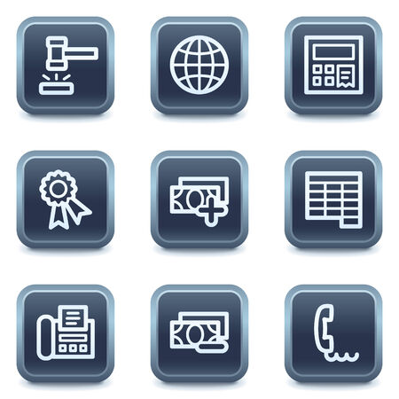Finance web icons set 2, mineral square buttons series Vector