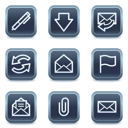 webmail: E-mail web icons, mineral square buttons series Illustration