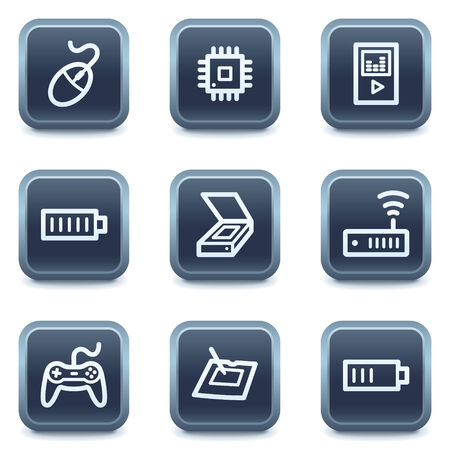 Electronics web icons set 2, mineral square buttons series Stock Vector - 6335929