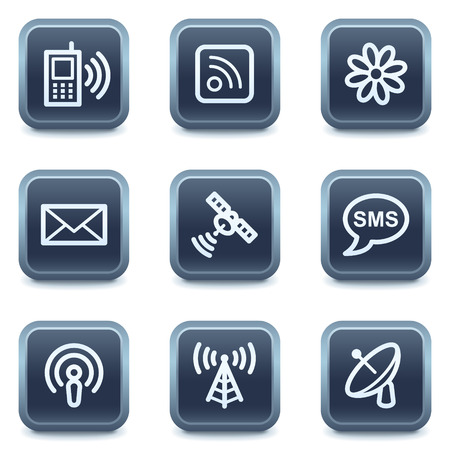 Communication web icons, mineral square buttons series Stock Vector - 6335924