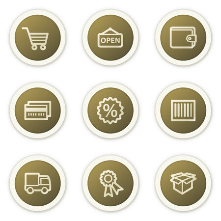 Shopping web icons set 2, brown circle buttons series Stock Vector - 6386805