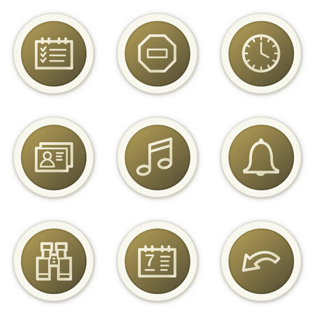 Organizer web icons, brown circle buttons series Stock Vector - 6386778