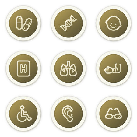 Medicine web icons set 2, brown circle buttons series Stock Vector - 6385141