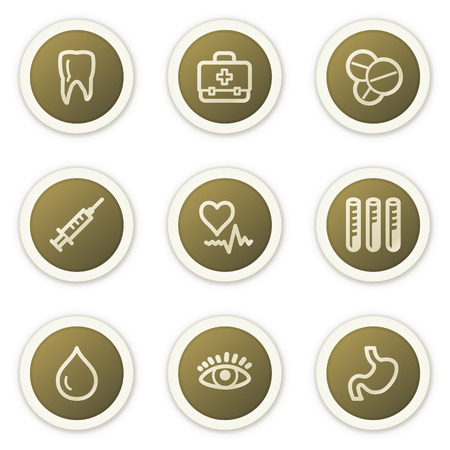 oculist: Medicine web icons set 1, brown circle buttons series Illustration