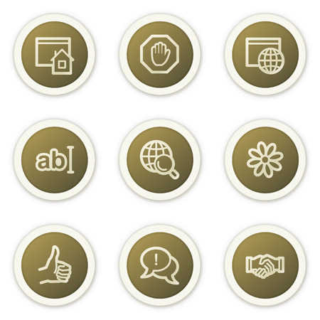 icq: Internet web icons set 1, brown circle buttons series
